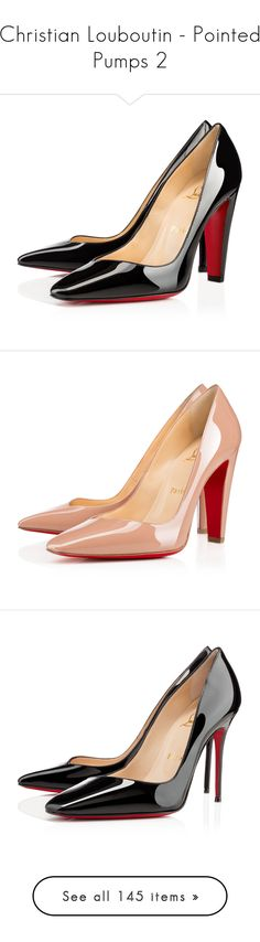 """Christian Louboutin - Pointed Pumps 2"" by enchantedxox ❤ liked on Polyvore featuring shoes, louboutin, heels, black, black patent pumps, christian louboutin shoes, black heeled shoes, patent leather pumps, black patent leather shoes and pumps"
