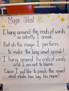 Magic Silent e chart- poem for PJ this week? Spelling Activities, Teaching Activities, Teaching Tips, Teaching Reading, Guided Reading, Learning, Education And Literacy, Kindergarten Literacy, Word Study