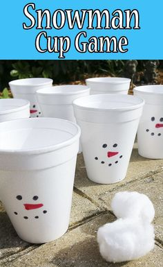 This snowman cup game is so easy! The kids love it too. All you need are Styrofoam cups and cotton balls. Check out the tutorial.