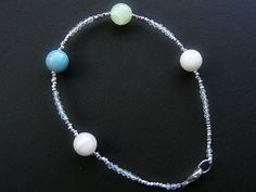 Aquamarine bracelet, multicolour beryl bracelet, aquamarine silver bracelet, Thai Karen silver bracelet, morganite goshenite bracelet, topaz