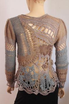 Freeform Crochet Knitting Sweater   - Wearable Art - OOAK