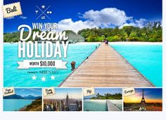 Win a Dream Holiday! http://www.saverscene.com.au/competitions/17167-win-your-dream-holiday-thanks-online-magazine-shesaid.html - $10,000 worth of holiday fun, you get $2,000 in cash and $8,000 in travel vouchers.    #holidays #newyork #bali #paris #rome #milan #Italy #VegasBaby! #London #Egypt #Amsterdam #travel