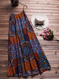 Cheap best O-NEWE Bohemian Printed Strap Big Hem Baggy Dresses on Newchic, there is always a plus size print dresse suits you! Short African Dresses, Latest African Fashion Dresses, African Print Dresses, African Print Fashion, Latest Fashion, Ankara Dress Styles, Ankara Tops, Fashion Trends, Moda Afro