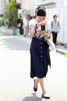 lovely outfit classic navy blue button skirt and striped top | japan