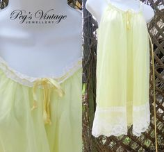 Vintage French Maid Yellow Chiffon by PegsVintageJewellery on Etsy