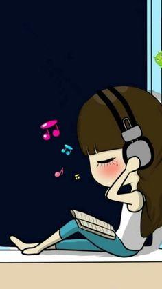 รูปภาพ background, girl, and music Music Drawings, Girly Drawings, Cartoon Drawings, Cartoon Art, Cute Couple Cartoon, Cute Cartoon Pictures, Cute Cartoon Girl, Cute Love Wallpapers, Cute Couple Wallpaper