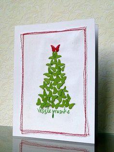 Crafts: Cartão natalino - borboletinhas em forma de árvore!