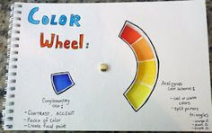 Different lessons on the elements of art--and a GREAT lesson on how to create a useful color wheel inside a sketchbook