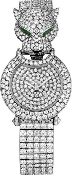 Panthère Captive de Cartier watch Small model, rhodiumized 18K white gold, onyx, diamonds