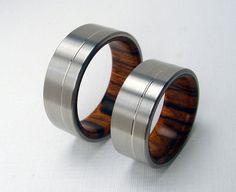 Titanium and Wood wedding ring set -- Rosewood interior and Titanium exterior with Pinstripe