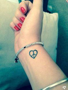 Paz & amor tat ideas peace tattoos, wrist tattoos и small wr Small Heart Tattoos, Cute Tiny Tattoos, Small Tattoos For Guys, Cool Small Tattoos, Small Wrist Tattoos, Girly Tattoos, Little Tattoos, Small Tattoo Designs, Tattoo Designs For Women