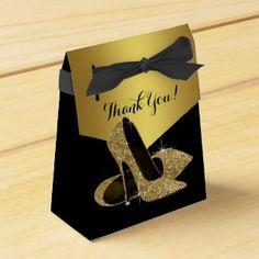 Elegant Black and Gold Glitter High Heel Shoe
