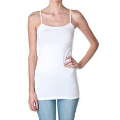 Plain Long Spaghetti Strap Tank Top Camis Basic Camisole Cotton White Size Medium >>> Be sure to check out this awesome product. (This is an affiliate link) #CamisolesTanks