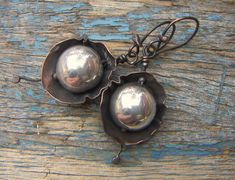 Silver Glass Dome in Copper Earrings by annamei on Etsy  - handmade - jewelry - jewellery - artisan