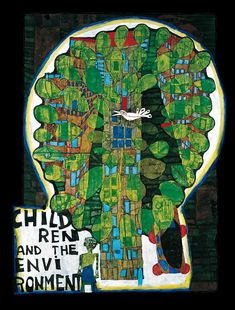 I CLOSE MY EYES HALFWAY JUST AS WHEN I CONCEIVE PAINTINGS AND I SEE THE HOUSES DUNKELBUNT INSTEAD OF UGLY CREAM COLOUR AND GREEN MEADOWS ON ALL ROOFS INSTEAD OF CONCRETE.  I AM LOOKING FORWARD TO BECOME HUMUS MYSELF BURIED NAKED WITHOUT COFFIN UNDER A TREE ON MY LAND IN AO TEA ROA.  Hundertwasser, 1979