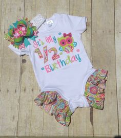 1/2 Birthday Bodysuit with Ruffle Legs Owl 1/2 by TwoSewinCute
