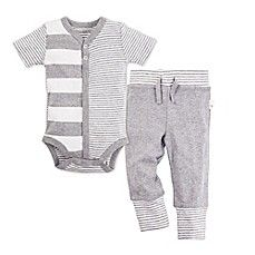 image of Burt's Bees Baby® 2-Piece Snap-Front Stripe Bodysuit and Pant Set in Grey