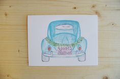 Wedding Card Just Married Card Congratulations by PosyPaperStudio