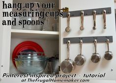 Pinterest inspired project - hang up your measuring cups and spoons