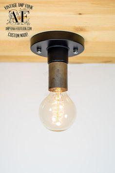 Steel Nickel socket ceiling light Industrial by VintageAmpFunk