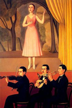 Canzone (1934). Antonio Donghi (Italian, 1897-1963). Possessed of an extremely refined technique, Donghi favored strong composition and spatial clarity. The critic Ugo Ojetti saw his clear realism and choice of subject-matter (people, still-lifes and cityscapes) as egalitarian and related to Caravaggio's influences. The disconcerting immobility of his figures also drew comparisons with the work of Seurat and of Henri Rousseau.