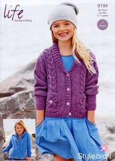 Girls Cardigans in Stylecraft Life DK - Discover more Patterns by Stylecraft at LoveKnitting. The world's largest range of knitting supplies - we stock patterns, yarn, needles and books from all of your favorite brands. Shawl Collar Cardigan, Cardigan Pattern, Baby Cardigan, Crochet Cardigan, Knit Crochet, Summer Cardigan, Crochet Flower, Crochet Baby, Free Crochet