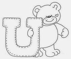 Mais um alfabeto com letras estilo country e um lindo ursinho para pintar ou bordar no enxoval das crianças.   1 - Alfabeto do ursinho.  2 ...