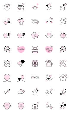 Girlish Emojis in black and pink color :) Some of the emojis are suitable to celebrate your loved ones' birthday! Emoji Drawings, Kawaii Drawings, Doodle Drawings, Stickers Kawaii, Cute Stickers, Kawaii Doodles, Cute Doodles, Bullet Journal Art, Bullet Journal Ideas Pages