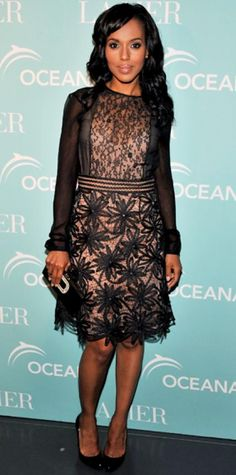 MAY 19, 2011 Kerry Washington WHAT SHE WORE Washington supported ocean preservation at New York's Affirmation Arts in a long-sleeve Valentino LBD, patent leather heels and a crystal-embellished clutch