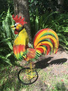 Rooster, Metal Rooster, Yard Art, Kitchen Decor, Farmhouse Decor, Porch Decor, Art Deco by MaggieBleus on Etsy