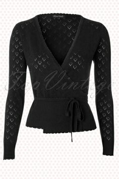 King Louie - 40s Wrap Heart Ajour Top in Black