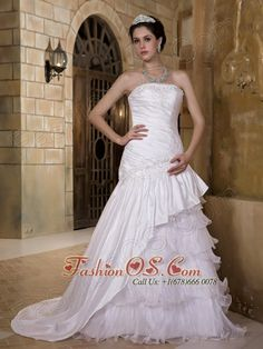 Customize A-line Strapless Wedding Dress Court Train Taffeta and Organza Appliques    http://www.facebook.com/quinceaneradress.fashionos.us  www.fashionos.com    The flattering gown features an appliqued strapless neckline on the heavily ruched bodice. The bodice extends to the appliqued hips which creates a beautiful shape. In the front, layers of the inner pleated organza makes the skirt flirty. A drop waistline together with the chapel train adds the detail.
