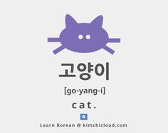 "To say cat in Korean, you say ""go-yang-i"" (in Hangul: 고양이) but to fully understand the word, you should take a look at the examples."