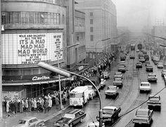 Sunday crowds in Toronto outside Odeon Theatre, circa April Photographer: Reg Innell Toronto Ontario Canada, Toronto City, Canadian History, Canadian Culture, Local History, American History, Nostalgia, Cinema, University Of Toronto