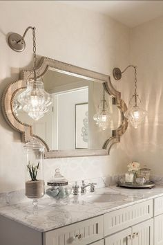 bathroom chandeliers ideas. Love the Pendant Lamps and Horizontal Mirror  House of Turquoise Casabella Home Furnishings Interiors lights for her vanity MASTER BATHROOM elegant retreat oval mirror framed in cherry silvery blue on