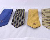 Vintage Tommy Hilfiger Neckties, Vintage Tie, Blue Tie, Yellow Tie, Striped Tie
