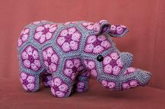 Woolbunnies: Thandi the Rhino. African Flower crochet toy
