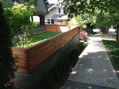 Concrete Retaining Wall w/ Modern Wood Trellis