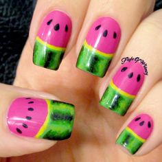 Neon Watermelon Crazy Nail Art, Crazy Nails, Half Moon Manicure, Sinful Colors, Watermelon, Neon