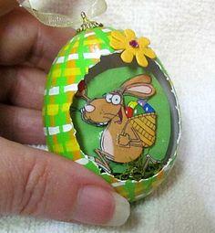 Egg, chicken egg, 3D, Easter, Edwin the Rabbit Eggcettera- Real chicken egg with cute 3D scene inside #bestofEtsy #design
