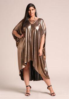 Plus Size Clothing   Plus Size Metallic Cross Strap Cut Out Shift Dress   Debshops