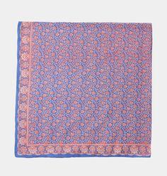 Foulard imprimé en voile de coton. 100cm x 100cm. 100% coton.