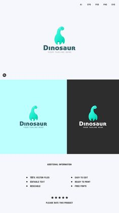 Dinosaur Logo Template by Snitovets on @creativemarket