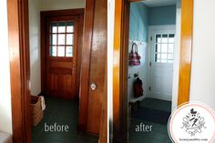 Mudroom before & after