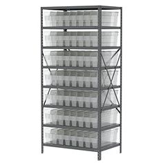 AkroMils AS247930844SC Steel Shelving Kit with 56 Bins 24 x 36 x 79 GrayClear *** Click image to review more details. (This is an affiliate link) #StorageOrganization Steel Shelving, Storage Organization, Bookcase, Shelves, Outdoor Structures, Kit, Image, Home Decor, Steel Racks