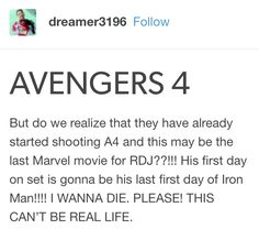 No no no no OH NO ITS CHRIS EVANS LAST FILM AS WELL NOOOOO<---- Is this for infinity war? If so, then it's A3.