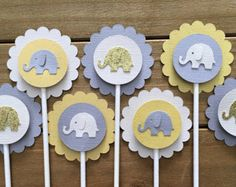12 Elephant Cupcake Toppers Elephant Cake by PrettyPaperGiraffe
