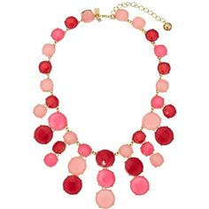 Kate Spade New York Smell The Roses Statement Necklace ($248) ❤ liked on Polyvore featuring jewelry, necklaces, pink, colorful statement necklace, adjustable necklace, pink necklace, kate spade necklace and bib statement necklace