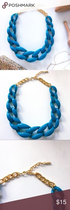 """Baublebar Teal chain statement necklace Statement necklaces. Le sigh. I love them. Just like this teal chunky dream of a necklace. NWOT. 1.75"""" wide and 25"""" long.   ▪️No trades, sorry people!  ▪️Reasonable offers welcome, let's be respectful of each other🤝 ▪️Please remember that colors may appear different on every screen 👀 ▪️Smoke-free home, but there are a couple felines.  ▪️Investigate photos (zoom in) and read descriptions before purchase ▪️Ask me about anything! I'm here for ya!! 🖤…"""