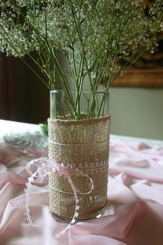 burlap & ribbon vases. only use the burlap and ribbon as cupcake wraps